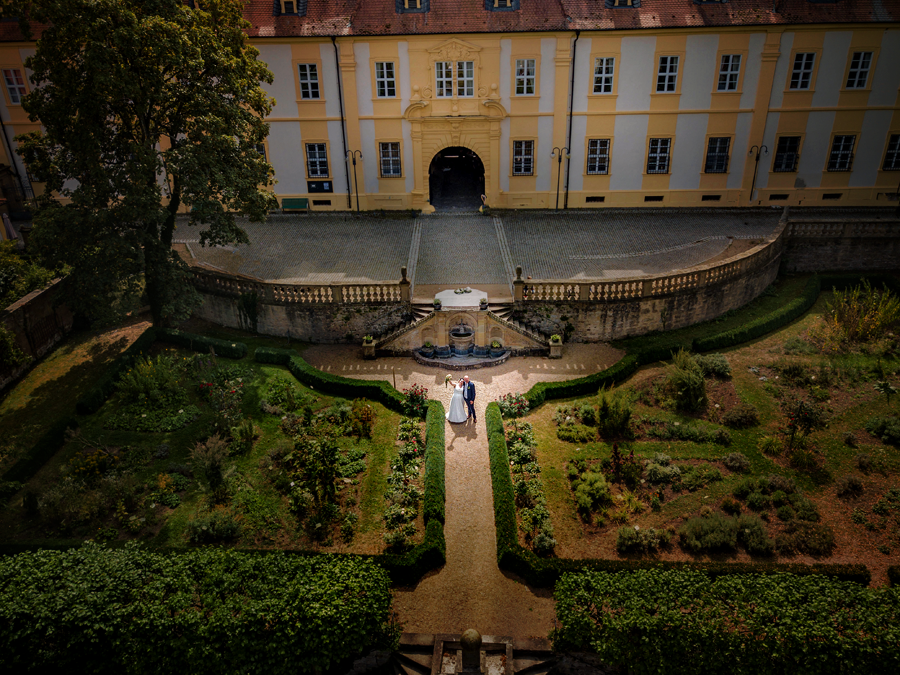 Drohne Hochzeit Schloss Oberschwappach